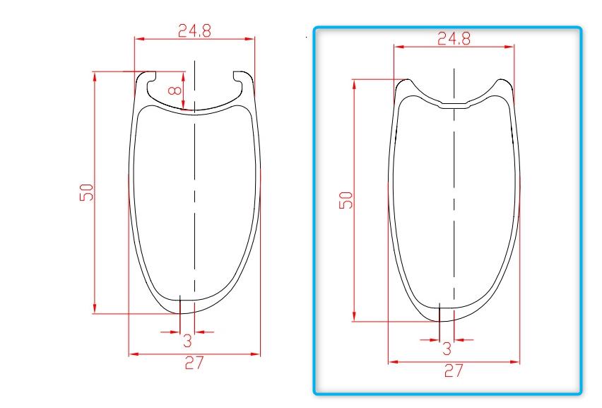 U型リムの断面図