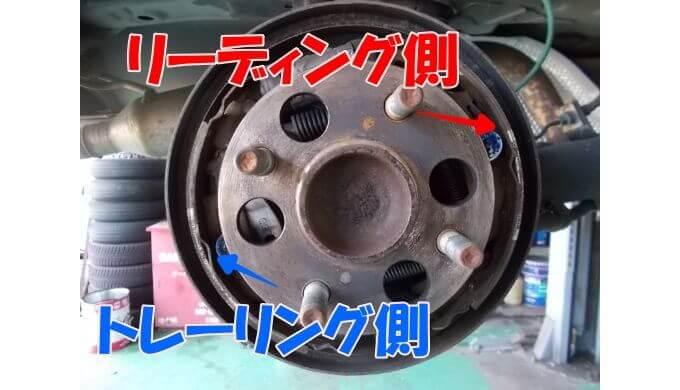 右側のドラムブレーキ内部