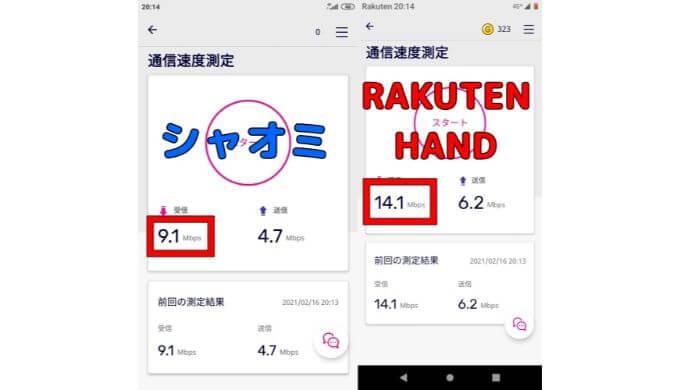 シャオミとRAKUTEN HAND の速度比較